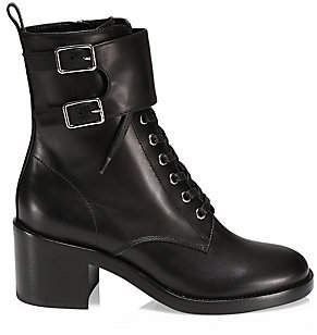 Gianvito Rossi Women's Lagarde Lace-Up Leather Combat Boots