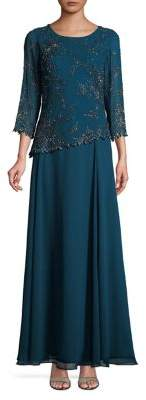 J Kara Embellished Quarter-Sleeve Dress