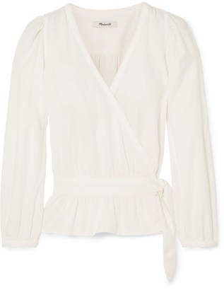 Madewell Cotton-blend Wrap Top - White