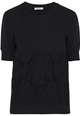 Nina Ricci Lace-trimmed Wool Top
