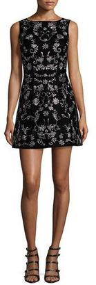 Alice + Olivia Lindsey Embroidered Mini Dress, Black $695 thestylecure.com