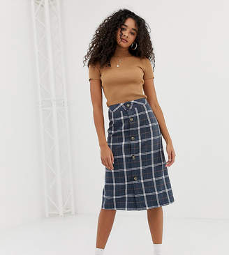 Wednesday's Girl midi skirt with button front in check