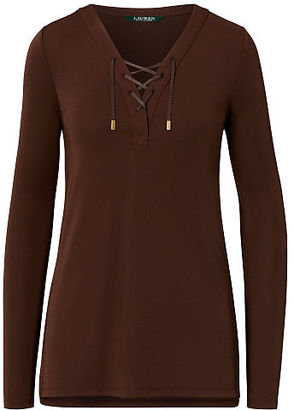 Ralph Lauren Lace-Up Jersey Tunic Top $89.50 thestylecure.com