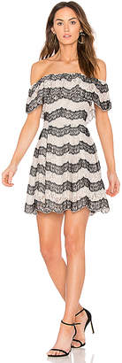 J.o.a. Tiered Off The Shoulder Lace Dress