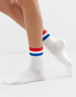 Monki ankle socks with red & blue stripe in white