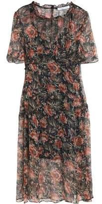 Sandro Lamé-Trimmed Floral-Print Georgette Midi Dress