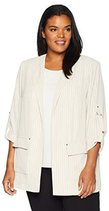 Calvin Klein Women's Plus Size Striped Soft Suiting Blazer