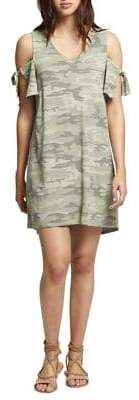 Sanctuary Lakeside Camouflage Cold-Shoulder Cotton Dress