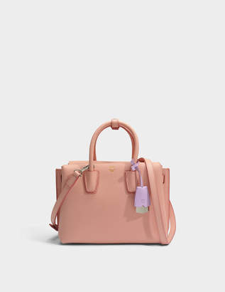 MCM Milla Small Tote Bag in Blush Pink Park Avenue Leather