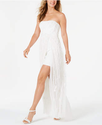Adrianna Papell Strapless Beaded Maxi Gown
