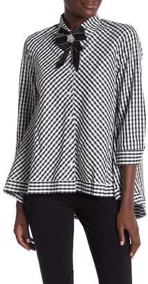 CQ by CQ Crystal Embellished 3\u002F4 Length Sleeve Hi-Lo Plaid Print Shirt
