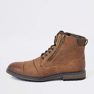 River Island Brown lace-up military boots