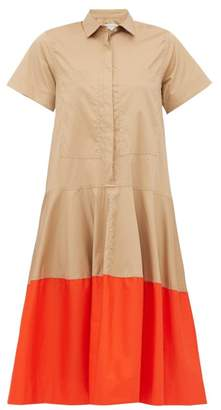 BEIGE Lee Mathews - Elsie Contrast Hem Cotton Poplin Shirtdress - Womens Multi