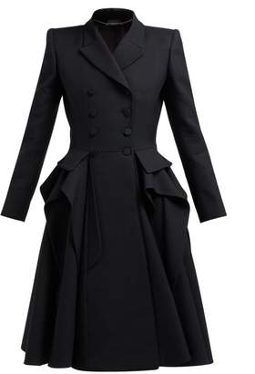 Alexander McQueen Ruffle Double Breasted Wool And Silk Blend Coat - Womens - Black
