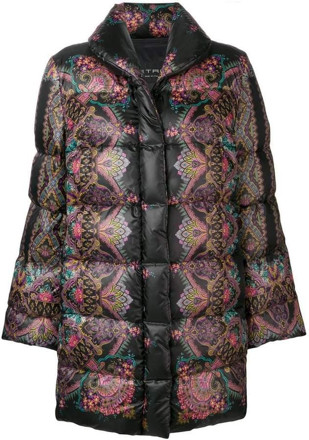 paisley-print puffer coat