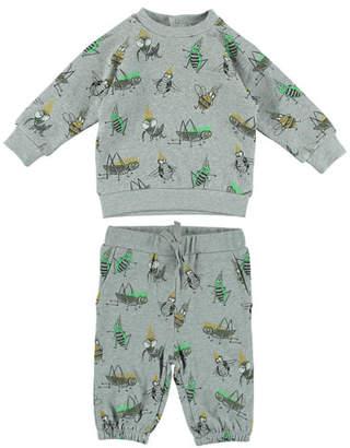 Stella McCartney Cartoon Bug-Print Sweatshirt w/ Matching Sweatpants, Size 6-36 Months