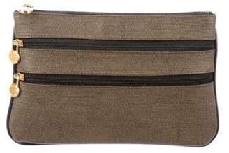 Fendi Monogram Leather-Trimmed Zip Pouch