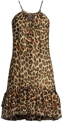 Caroline Constas Isla Leopard Mini Halter Shift Dress