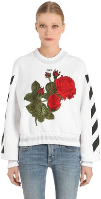 Off-White Off White Roses Embroidered Cotton Sweatshirt
