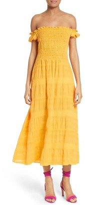 Women's Tanya Taylor Zanna Voile Jacquard Off The Shoulder Dress $475 thestylecure.com