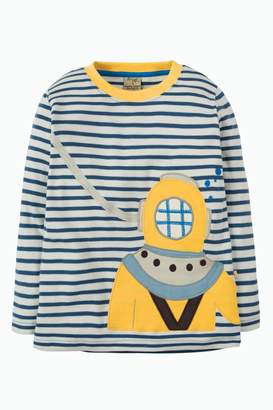 3c9de7598664c Next Boys Frugi Organic Breton Stripe Top With Diver Appliqué