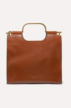 Marni Marcel Textured Glossed-leather Tote - Brown