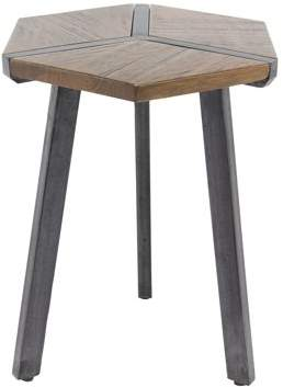 DecMode Decmode Contemporary 30 X 17.25 Inch Hexagonal Wooden End Table With Iron Legs