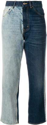 Golden Goose cropped split colour jeans