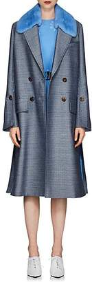 Fendi Women's Mink-Collar Wool-Blend Coat - Blue