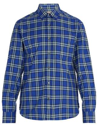 Burberry Checked Cotton Shirt - Mens - Blue Multi