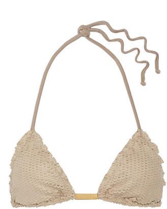 Vix - Laser-cut Faux Suede Triangle Bikini Top - Mushroom $95 thestylecure.com