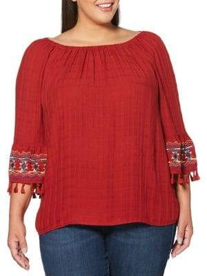 Rafaella Plus Off-the-Shoulder Embroidered Top