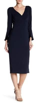 Monique Lhuillier Long Sleeve Midi Dress