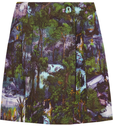 Carven Printed cotton-blend crepe skirt