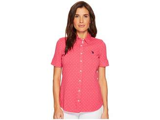 U.S. Polo Assn. Short Sleeve Dotted Blouse Women's Blouse