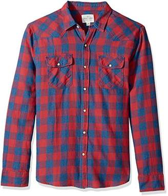 True Grit Men's Vintage Indigo Plaid & Check Long Sleeve Two Pocket Shirt