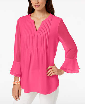 Charter Club Double Ruffle Solid Pintuck Top