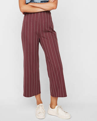 Express High Waisted Pinstripe Cropped Wide Leg Pant