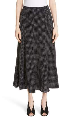 Max Mara Pitone Polka Dot Print Silk Skirt