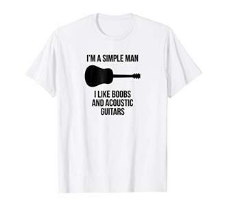 Official Simple Acoustic Man Boobs Spruce Top Guitar T-Shirt