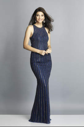 Dave and Johnny Navy Rhinestone Gown