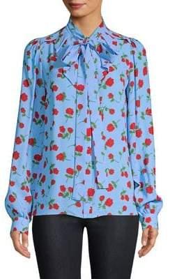 Michael Kors Floral Print Bow Blouse