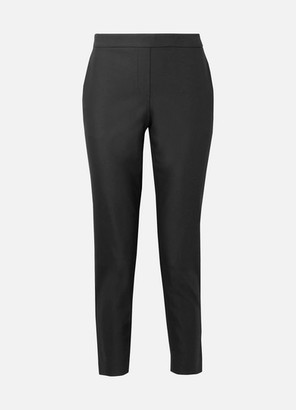 Theory Thaniel Cropped Stretch Cotton-blend Twill Slim-leg Pants - Black
