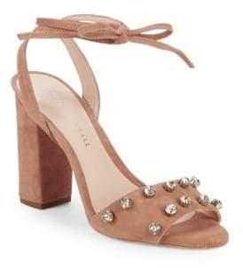 Loeffler Randall Elayna Studded Suede Ankle-Wrap Sandals