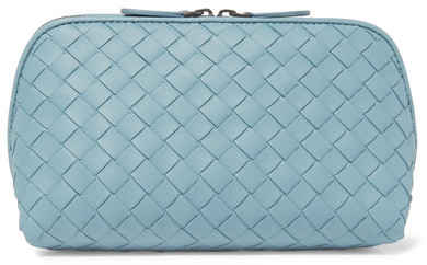 Bottega VenetaBottega Veneta - Intrecciato Leather Cosmetics Case - Sky blue