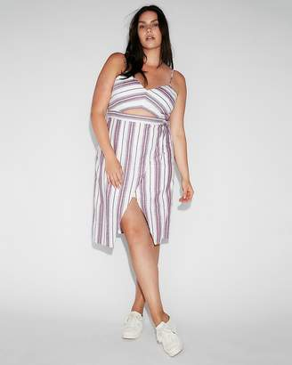 Express Striped Cut-Out Wrap Front Midi Dress