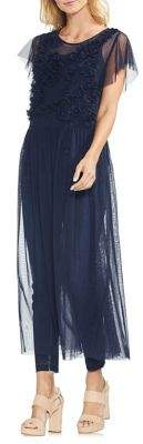 Vince Camuto Sapphire Bloom Embroidered Tulle Tunic