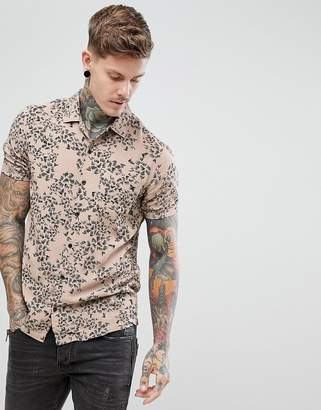 Religion revere collar shirt in beige with abstract print