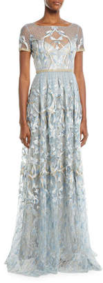 Marchesa Embroidered Gown w/ Metallic Lace Trim