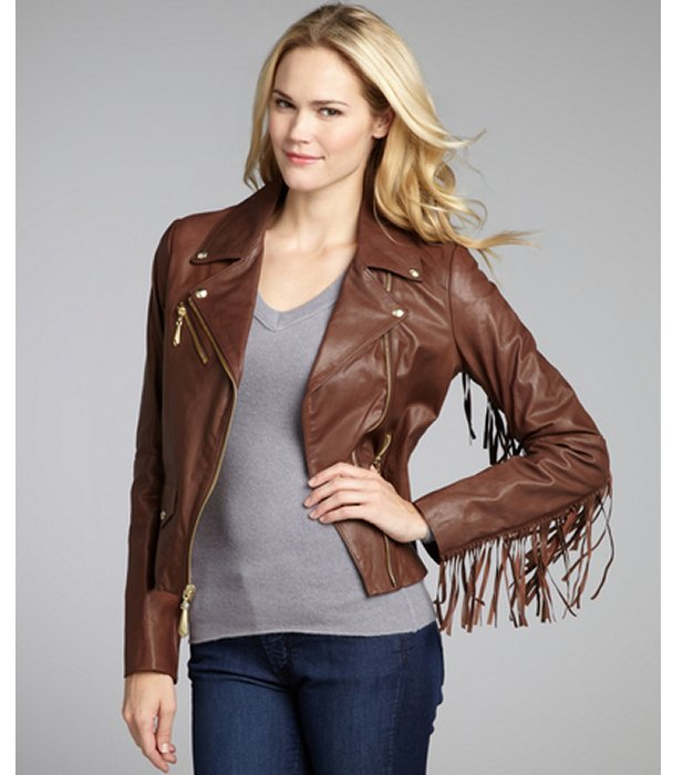 Sam Edelman chocolate pebbled leather fringed goldtone zipper motorcycle jacket